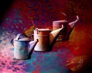 Cans Mixed Media - 3 Watering Cans No.1 by Paul Gaj