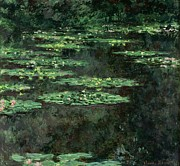 Nympheas Framed Prints - Waterlilies Framed Print by Claude Monet