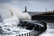 Ocean Front Landscape Posters - Waves Crashing, Sunderland, Tyne And Poster by John Short