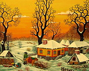 Serbian Painting Originals - Winter by Zoran Zaric