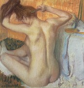 Sensual Pastels Framed Prints - Woman combing her hair Framed Print by Edgar Degas