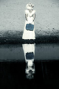 Pond Lake Photos - Woman With Suitcase by Joana Kruse