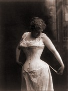 Corsets Framed Prints - Women In A Whale-boned Corset, 1899 Framed Print by Everett