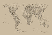 Font Map Digital Art Prints - World Map of Cities Print by Michael Tompsett