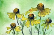 Field Of Flowers Paintings - Yellow Wild Flowers by MaryAnn Cleary