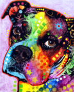 Dogs Mixed Media Posters - Young Boxer Poster by Dean Russo