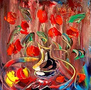 Snow Tree Prints Mixed Media Prints - Tulips Print by Mark Kazav