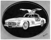 Vintage Car Drawings Prints - 300 SL Gullwing Print by Peter Piatt