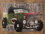 P-40 Mixed Media Metal Prints - 32 Ford Roadster Warhawk Metal Print by Josh Bernstein
