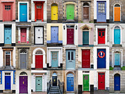 Multi-coloured Metal Prints - 32 Front Doors Horizontal Collage  Metal Print by Richard Thomas