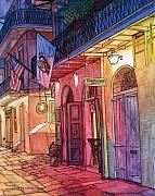 New Orleans Drawings - 32  Pirates Alley at Night by John Boles