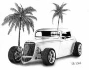 Charcoal Car Posters - 33 Ford Coupe Poster by Peter Piatt