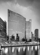 333 Framed Prints - 333 Wacker black and white Framed Print by Donald Schwartz