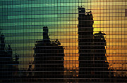Glass Photo Originals - 333 Wacker Reflecting Chicago by Steve Gadomski