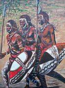Tribal Art Paintings - 335 Masaai Warriors by Sigrid Tune