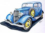 Early Drawings Originals - 34 Ford V8 by Terence John Cleary