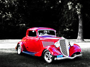 Ms Judi Framed Prints - 34 Red Ford Coupe Framed Print by Ms Judi