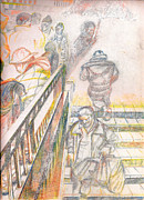 Rain Drawings - 34th Street Entrance To The IRT Subway  NYC by Al Goldfarb