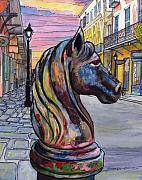 New Orleans Drawings - 35   French Quarter Rusted Hitching Post by John Boles