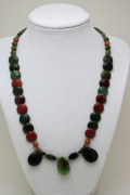 Orange Jewelry - 3505 Fancy Jasper and Unakite Necklace by Teresa Mucha