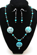 Glass Jewelry Originals - 3508 Crazy Lace Agate Necklace and Earrings by Teresa Mucha
