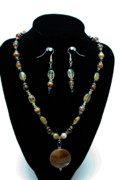 Sterling Silver Art - 3509 Amber Striped Onyx Set by Teresa Mucha