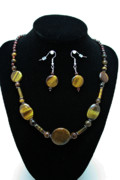 Sterling Silver Art - 3510 Tiger Eye Set by Teresa Mucha