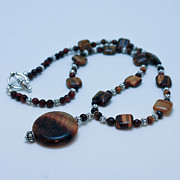 Silver Necklace Art - 3516 Tiger Eye Necklace  by Teresa Mucha