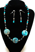 Sterling Silver Art - 3517 Crazy Lace Agate Set by Teresa Mucha