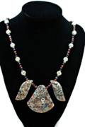 Silver Jewelry - 3521 Crinoid Fossil Jasper Necklace by Teresa Mucha