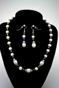 Black  Jewelry - 3531 Freshwater Pearl Necklace and Earring Set by Teresa Mucha