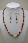 Gold Necklace Originals - 3539 Pearl Necklace and Earring Set by Teresa Mucha