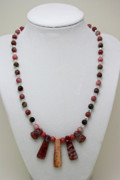Pendant Necklace Jewelry - 3541 Rhodonite and Jasper Necklace by Teresa Mucha