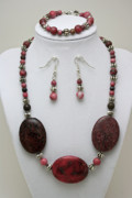 Pink Jewelry - 3544 Rhodonite Necklace Bracelet and Earring Set by Teresa Mucha