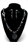 Semi Precious Jewelry - 3545 Black Cracked Agate Necklace and Earring Set by Teresa Mucha