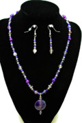 Sterling Silver Art - 3546 Purple Veined Agate Set by Teresa Mucha