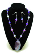 Sterling Silver Art - 3547 Purple Veined Agate Set by Teresa Mucha