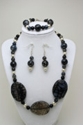 Black Jewelry - 3548 Cracked Agate Necklace Bracelet and Earrings Set by Teresa Mucha
