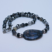 Black  Jewelry - 3552 Cracked Agate Necklace by Teresa Mucha