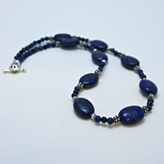 Gold Jewelry - 3553 Lapis Lazuli Necklace and Earrings Set by Teresa Mucha