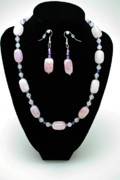Sterling Silver Art - 3560 Rose Quartz Necklace and Earrings Set by Teresa Mucha