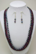 Handmade Necklace Jewelry - 3562 Triple Strand Freshwater Pearl Necklace Set by Teresa Mucha