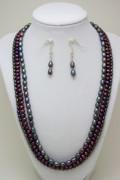 3562 Triple Strand Freshwater Pearl Necklace Set Print by Teresa Mucha