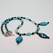 Silver Turquoise Jewelry Originals - 3564 Shell and Semi Precious Stone Necklace by Teresa Mucha