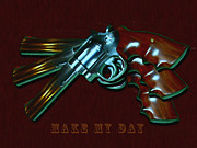 Hand Gun Prints - 357 Magnum - Make My Day - Painterly Print by Wingsdomain Art and Photography