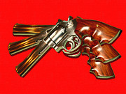 Fire Arm Framed Prints - 357 Magnum - Painterly - Red Framed Print by Wingsdomain Art and Photography