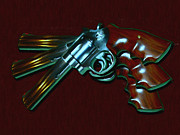 Hand Gun Prints - 357 Magnum - Painterly Print by Wingsdomain Art and Photography