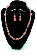 Silver Jewelry - 3570 Cherry Quartz Czech Glass Set by Teresa Mucha