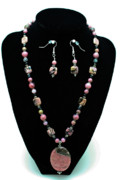 Black  Jewelry - 3571 Rhodonite Set by Teresa Mucha