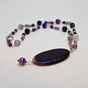 Purple Jewelry Originals - 3573 Banded Agate Necklace  by Teresa Mucha